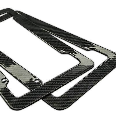 (Plastic Carbon Fiber Style License Plate Frames For Front & Rear Bracket 2pc Set)
