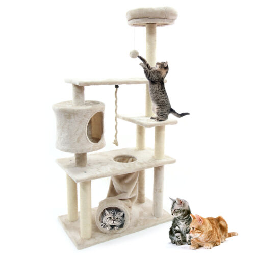 "55"" Cat Tree Condo Scratching Post Sisal Scratcher Furniture Kitten Play House"