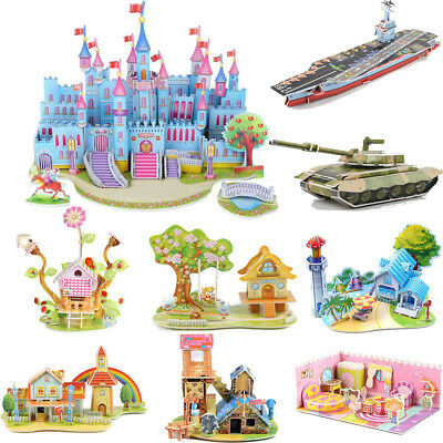 3D Paper Board Puzzle Early Learning Construction Assemble Toy For Kid Children