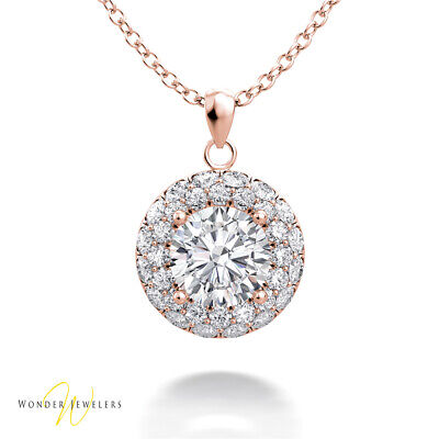 1.1ct GIA Round Diamond 2 Row Halo Necklace Pendant 14K Gold F/VS2(2306573361)