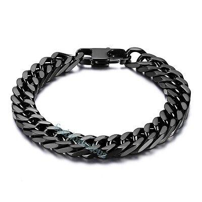 "Fashion 10mm Big Black Stainless Steel Men's Boy's Link Bracelet 8"" Chain New"