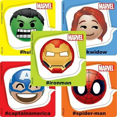 20 Marvel Emoji STICKERS Party Favors Supplies Birthday Treat Bags Hulk Iron Man - Hulk Party Favors