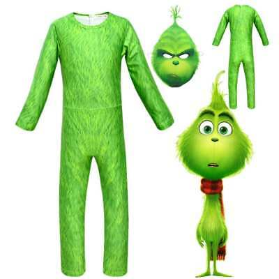 The Grinch Stole Christmas Cosplay Costume Children  Xmas Halloween Jumpsuits