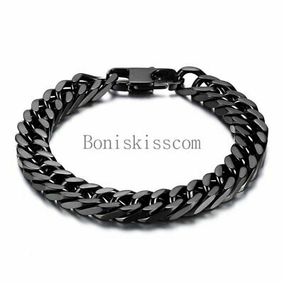 Durable Black Stainless Steel 10mm Heavy Wide Mens Curb Link Chain Bracelet...