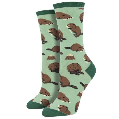 Socksmith Women's Crew Socks Dam It Beaver Builder Rodent Gr