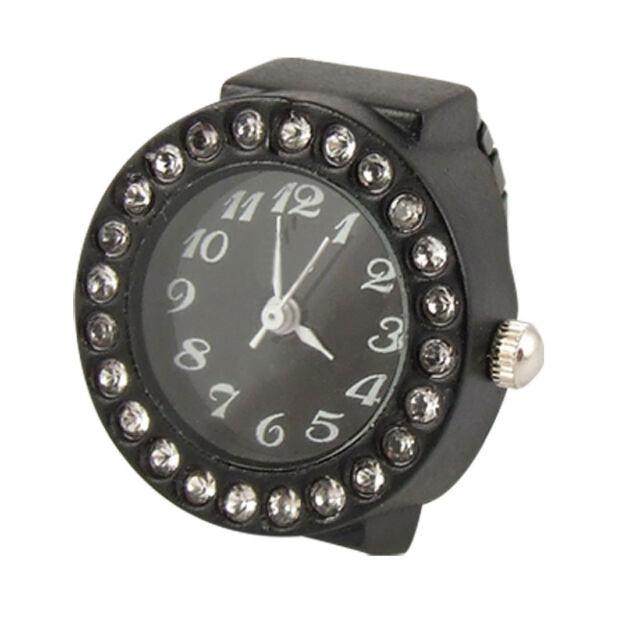 New Practical Ladies Elastic Black Band Rhinestone Case Finger Ring Watch F2R5