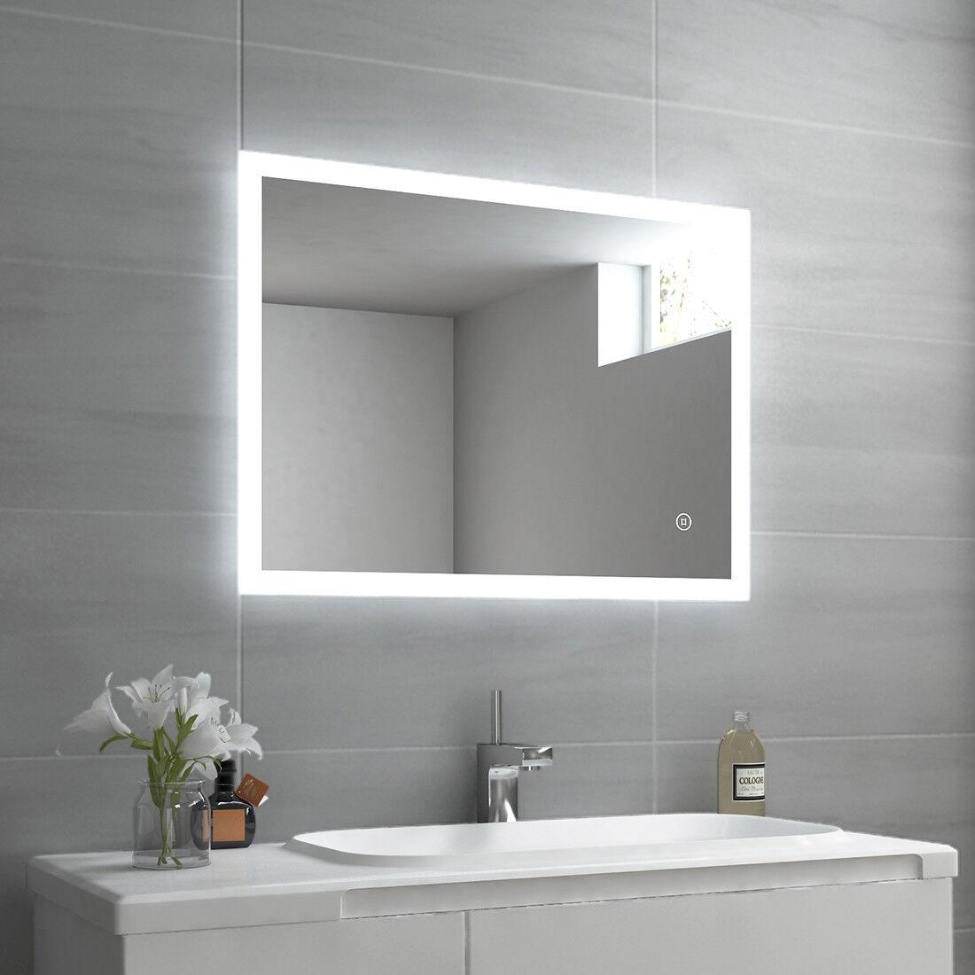 Led Bad Spiegel mit Beleuchtung mit Touch Beschlagfrei 50x70/60x80cm Wandspiegel
