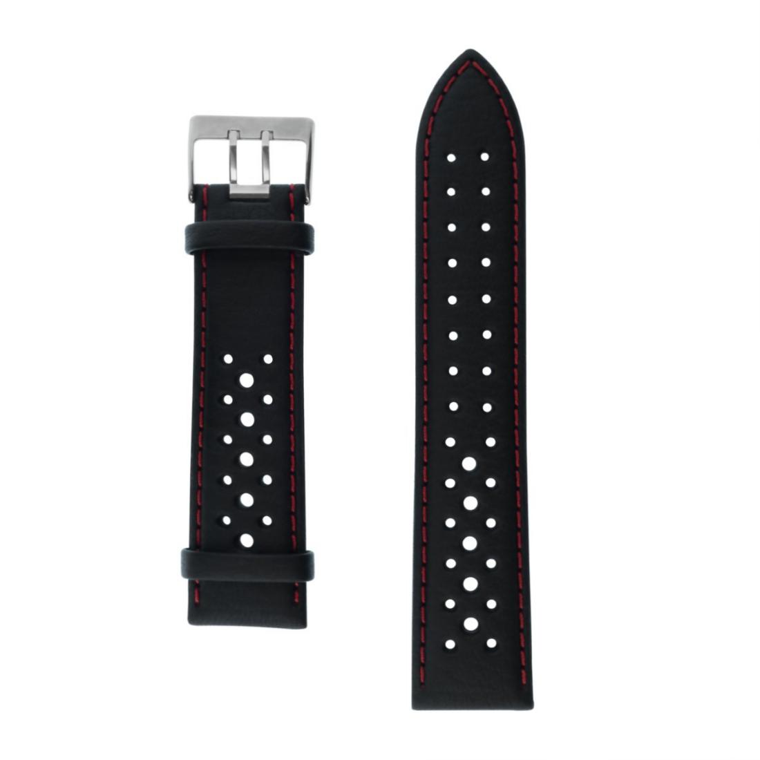 Uhrenarmband Armband Leder gelocht 22 mm Breit schwarz Naht rot von Junkers