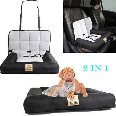 Pet Cushion Car Seat Belt Booster Travel Carrier Folding for Dog Cat Puppy Black Dog Cat Pet Bed Car