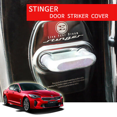 New Stainless Steel Stinger Door Striker Cover 4pcs for Kia Stinger 17-18 BLACK