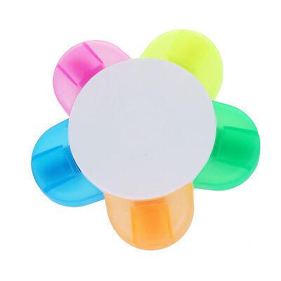 5 Color Highlighter Pen Marker Pen Stationery Flower Shape O8p9