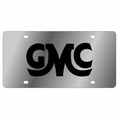 Stainless Steel Plate GMC Retro Script Black License Plate Frame 3D Novelty -