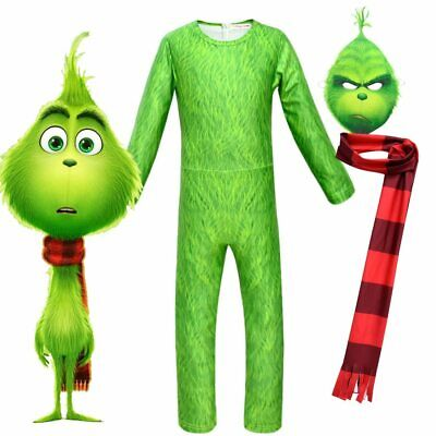 The Grinch Cosplay Costume Kids Halloween Girls Boys Cartoon Jumpsuit Christmas