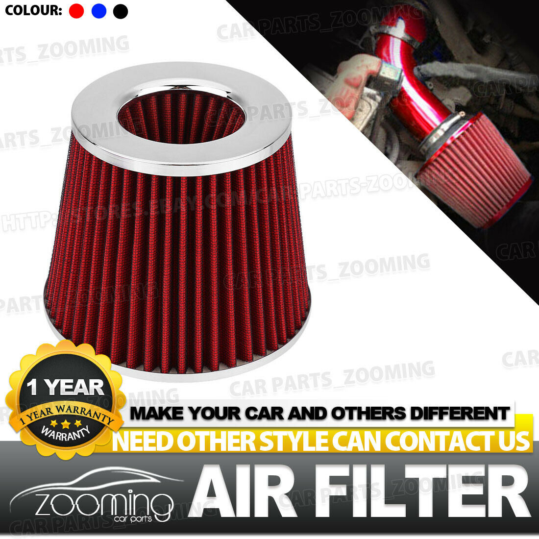 RED 4 INCH UNIVERSAL PERFORMANCE HIGH FLOW JDM CONE AIR FILTER INTAKE