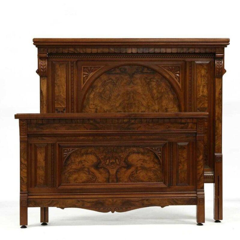 Outstanding Victorian Antique Bedroom Set 1880 Burlwood Queen Converted