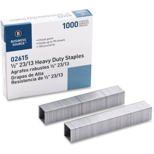 """Business Source 02615  Heavy Duty Staples 1/2"""" Leg Pack of 1000"""