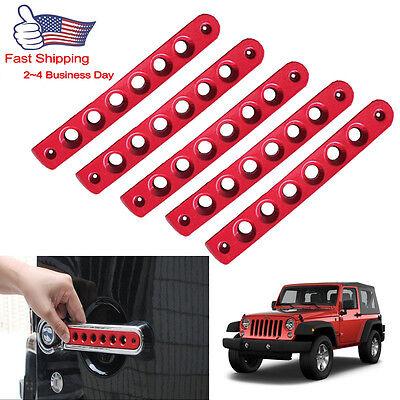 5pcs Red Door Grab Handle Trim Cover Kit For Jeep Wrangler 4 Door 2007-2018 #s