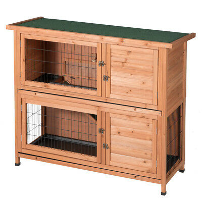 Two Floors Wooden Outdoor Indoor Bunny Hutch Rabbit Cage PET House Nature