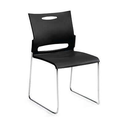 GOF Stacking Armless Chair, Conference Guest Chair, BLACK Color Black Armless Stacking Chairs