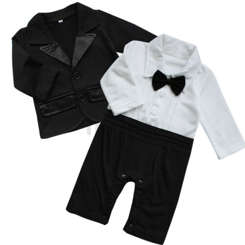 Newborn Baby Boys Gentleman Outfit Formal Party Wedding Shirt+Shorts Sets//Romper