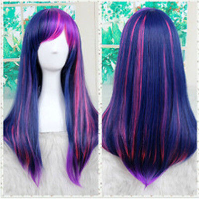 Twilight Sparkle Halloween (Little Pony Twilight Sparkle Cosplay Wig Long purple Synthetic Wigs Halloween)