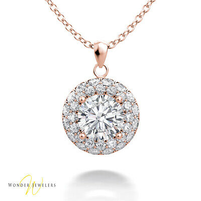 1.21ctw GIA Round Diamond 2 Row Halo Necklace Pendant 14K Gold H/SI1(2306412862)
