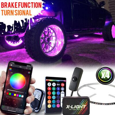 "Bluetotoh 17"" RGB-W LED Wheel Rings Rim Lights For Car/Truck w/Music Active"