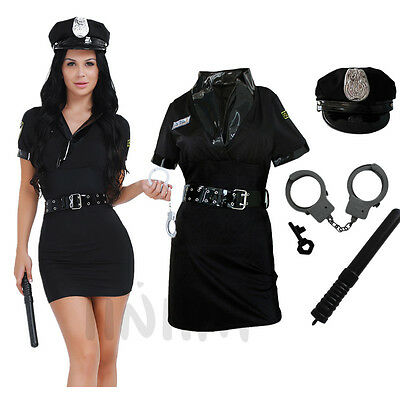 Women Police Cop Halloween Costume Fancy Dress Sexy Outfit Officer Uniform Sets - Cop Outfits For Women