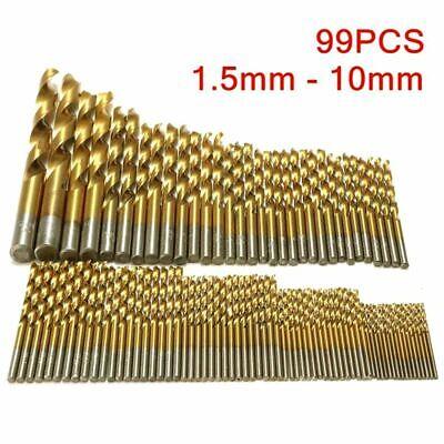 Drill Bit Set Titanium Coated For Metal Wood Work 99 Pcs Cobalt Steel Tools Used