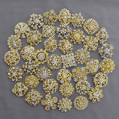 40 pcs Brooch Lot Gold Rhinestone Crystal Pin Wedding Bouquet DIY Kit Wholesale