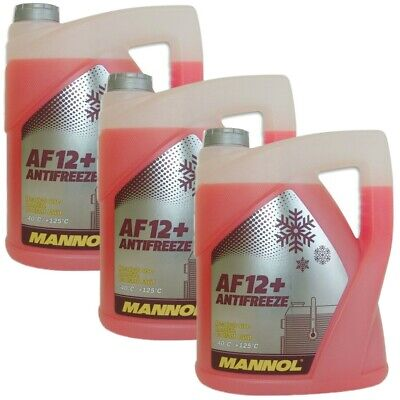 15 Liter 3x5 Mannol Kühlerfrostschutz Rot G12+ -40°C Kühlmittel TL774F fertig