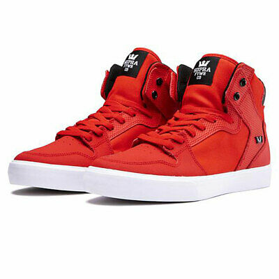 Supra Men's Vaider Hi Top Sneaker Shoes Risk Red/Black-White Footwear Skateboard Blk Mens Footwear