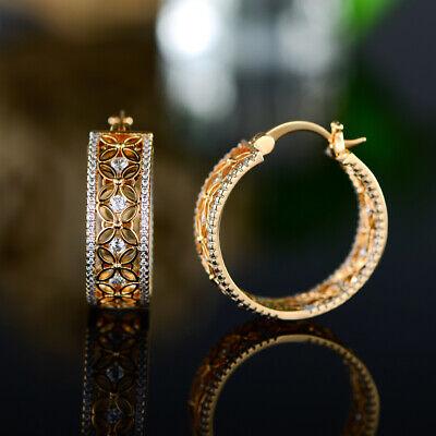 Sevil 18K Gold Plated Round Hoop Filigree Flower Earrings W/ Swarovski Elements