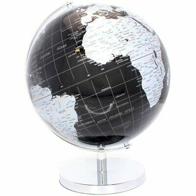 CONTEMPORARY BLACK & SILVER LARGE GLOBE METAL BASE ATLAS TABLE DESK ORNAMENT