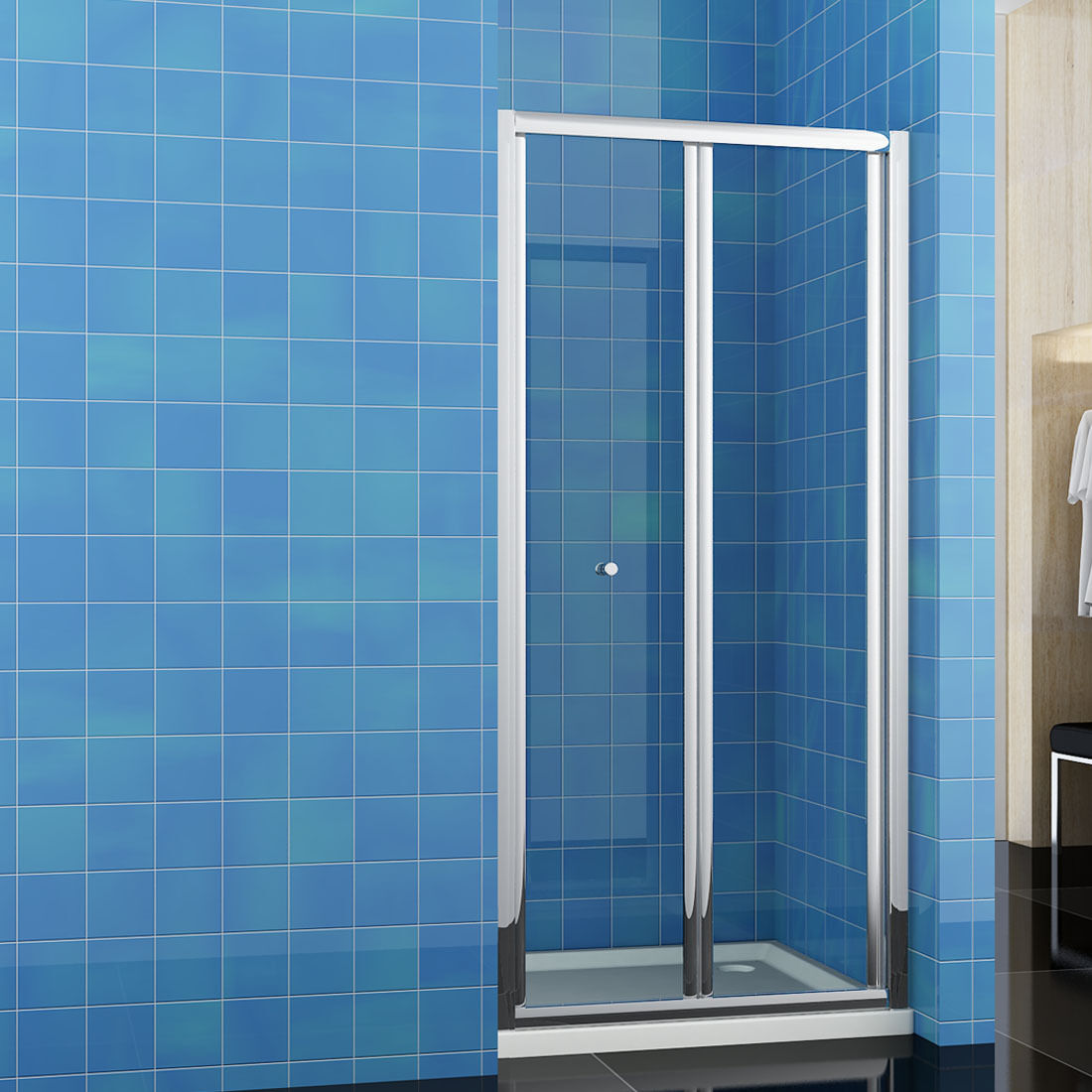 Walk in shower enclosure and tray bifold pivot sliding for 1300mm sliding shower door