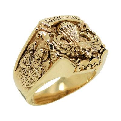St Michael solid Gold 14K US Army Airborne Skull biker mens Ring