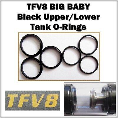 6 - TFV8 BIG BABY Black Tank Set Orings ( ORing O-Rings smok Seals )