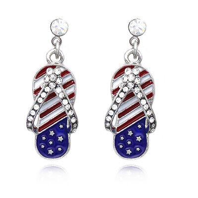 4th of July American Flag Patriotic Dangle Flip Flop Sandal Post Earrings Gift](Patriotic Jewelry)