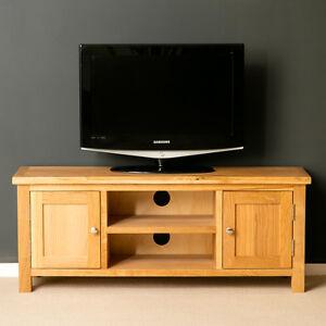 London Oak TV Stand / Light Oak Plasma TV Cabinet / Solid Wood Large TV Unit