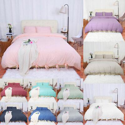 Washed Cotton Bedding Set Comforter Duvet Cover Pillowcase B