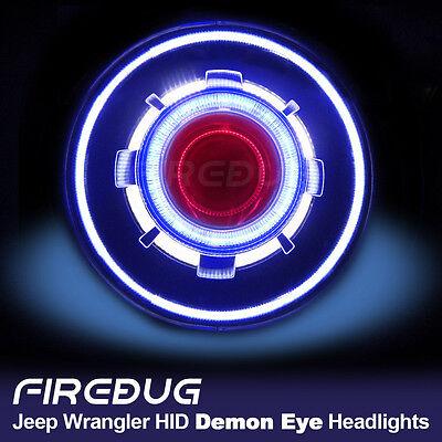 "Firebug 7"" Demon Eye Headlight, HID Projector Headlights with Halo, Angel Eye"