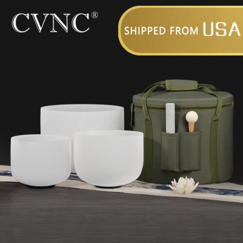 """CVNC 3 Pcs 8""""F+10""""C+12""""A Crystal Singing Bowl Chakra Set with Cases Mallets"""