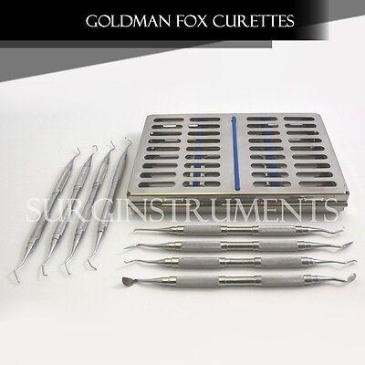 8 Goldman-fox Curettes Scalers Set With Sterilization Cassette Box Surgical
