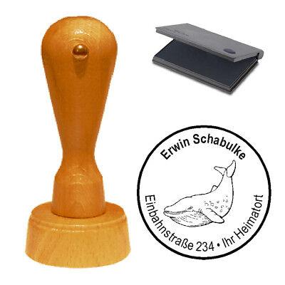 Stempel « Wal » Adressenstempel Motivstempel Holzstempel