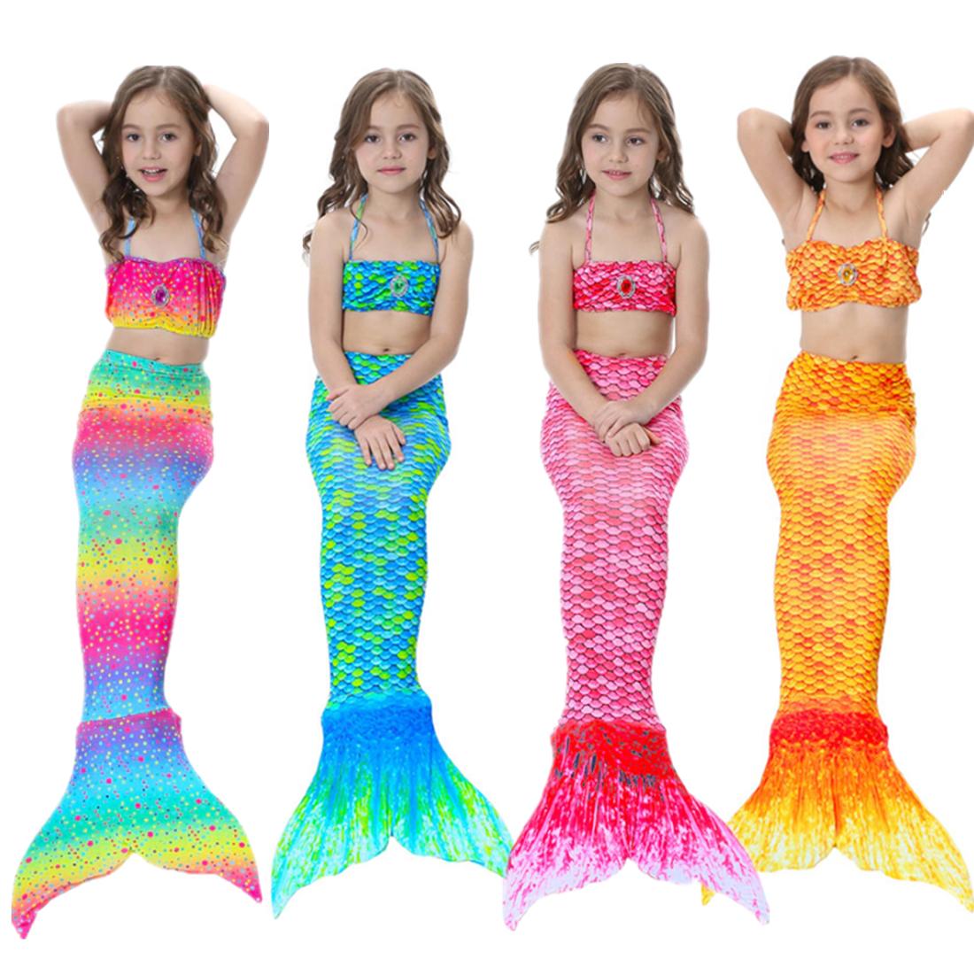 Kids Girls Mermaid Tail Bikini Swimsuit Costume swimwear 3 Pcs Set 3-12 Years