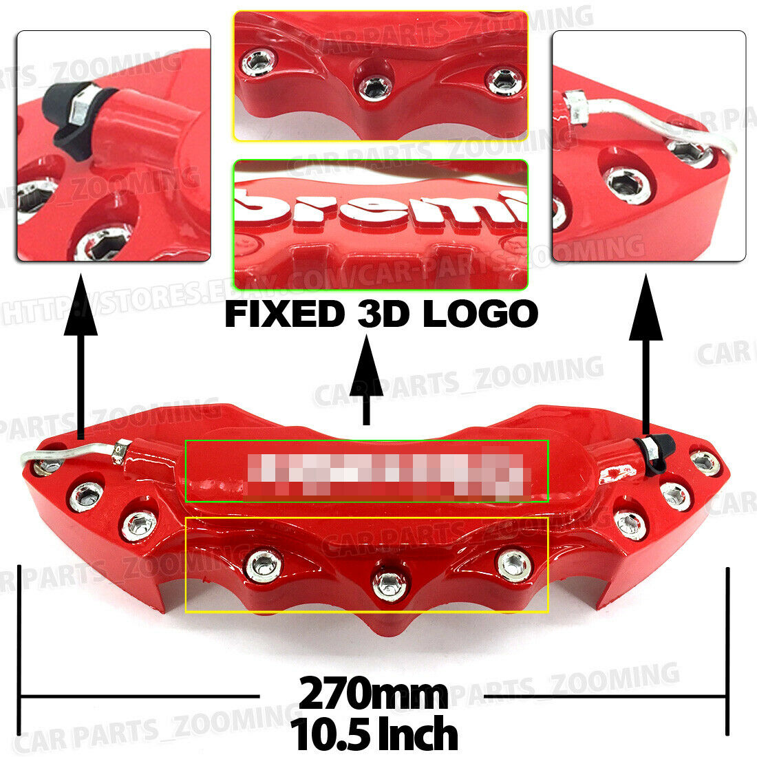 Color : Red NO LOGO SFFSMD 4Pcs 3D Disc Brake Caliper Cover Universal Style Disc Front and Rear Kit Fit 17 Inches 2 Pieces Medium and 2 Pieces Small