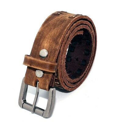 9480V - Men's Western Vintage Double Row Lacing Full-grain Leather Belt Vintage Western Belts