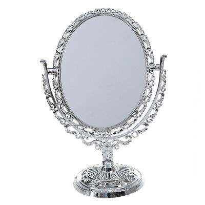 PLASTIC SILVER VANITY MAKE UP COSMETIC TABLE BATHROOM MIRROR ON FOOT STAND UKME