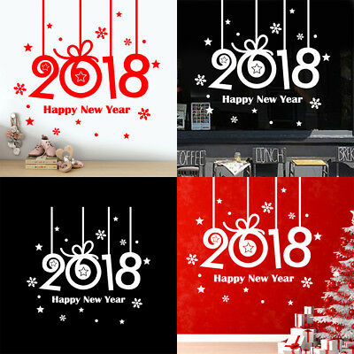 2018 Happy New Year Christmas Wall Sticker Home Store Windows Vinyl Decals Decor