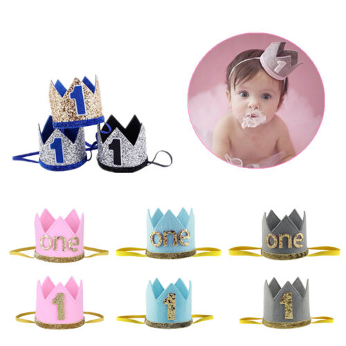 Baby Boy Girl First Birthday Hat Crown Numbers Headband Tiara Party Photo PropsGBP 099